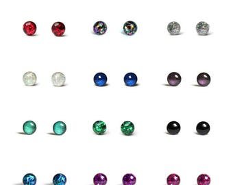 2 pairs of Tiny stud earrings - Glitter teeny tiny stud earring set with hypoallergenic surgical steel posts - 4mm studs - Pick two colors