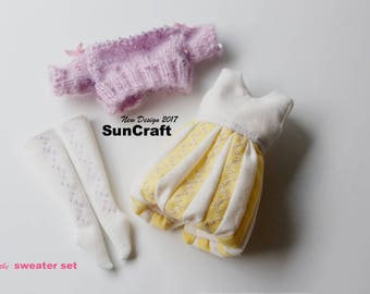 HandMade Neo Blythe or 1/6 doll  sweater dress set (violet) by SunCrafte 2017 May
