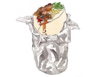 Burrito Watercolor Art Print