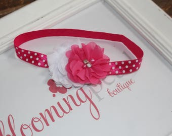 Hot Pink and White Polkadot Shabby Chic Newborn Infant Flower Headband