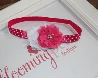 Hot Pink and White Polkadot Shabby Chic Newborn Infant Flower Headband