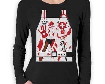 Bloody Nurse / Doctor Zombie Halloween Costume Women Long Sleeve T-Shirt