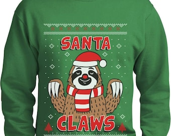 Santa Claws Sloth Ugly Christmas Sweater Funny Xmas Sweatshirt