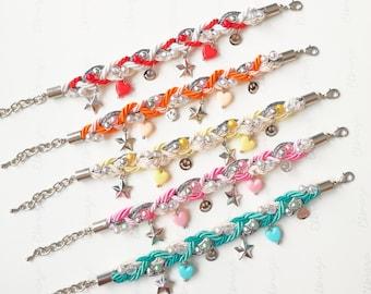 Smiley charm braided bracelet, charm bracelet, cute jewelry, kawaii bracelet, kawaii jewelry, pastel bracelet, gift for girl, colorful