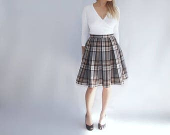 A-line wool pleated 50s vintage retro style skirt