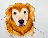 Custom Dog Portrait   Custom Pet Portrait   Color Pet Portrait   Original Dog Portrait