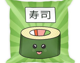 Sushi Happy Fun Time Foodie Square Pillow