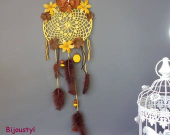 "Dream catcher is hand ""Florie 4"" Orchid flowers and polyester, beads, feathers, ribbon flowers"