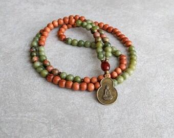 Serpentine Mala Beads - Quan Yin Pendant - Buddhist Mala - 108 Prayer Beads - Item # 936