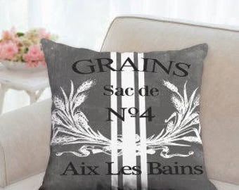 Gray Grain Sack Pillow (not real grain sack)