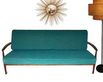 Mid Century Modern Sofa Danish Teak Sofa Iconic Danish Furniture Turquoise 1950s Atomic Age Couch Sculptural Teak Loveseat Denmark Eames Era