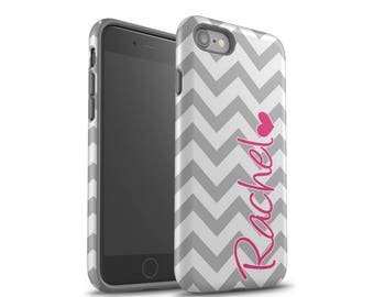 iPhone 7 Case, iPhone 7 Plus Case, iPhone 8 Plus Case, iPhone X Case, Samsung Galaxy S8 Case, Galaxy S7 Case, Grey Chevrons, Personalized