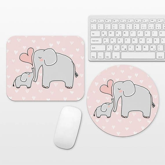 Mom Baby Elephant Mouse Pad Pink Mousepad Cute Mousepad Elephant Mousepad Mom Mouse Pad Mom Gift from Daughter, Office Gift Desk Accessories