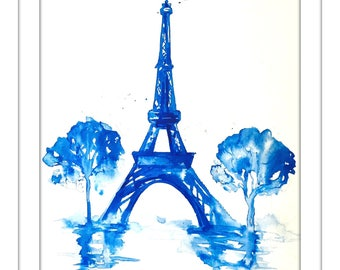 Paris in Blue Art Print from Original Watercolor Illustration - Travel Paris Watercolor by Lana Moes - Blue Home Decor - Parisian Cityscape