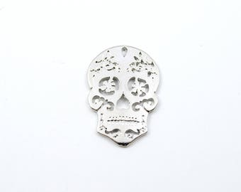 Large Silver Sugar Skull Pendant, 30mm - 2 pieces (243)