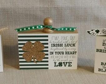 Wood Blocks, set of 3, home decor, St. Patrick's Day Decor, Irish Decor, I'm not Irish kiss me anyway, Irish luck, ready to ship