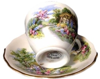 Vintage Royal Vale Cup and Saucer, Fine Bone China Teacup, Country Cottage Garden, England, Gift For Her