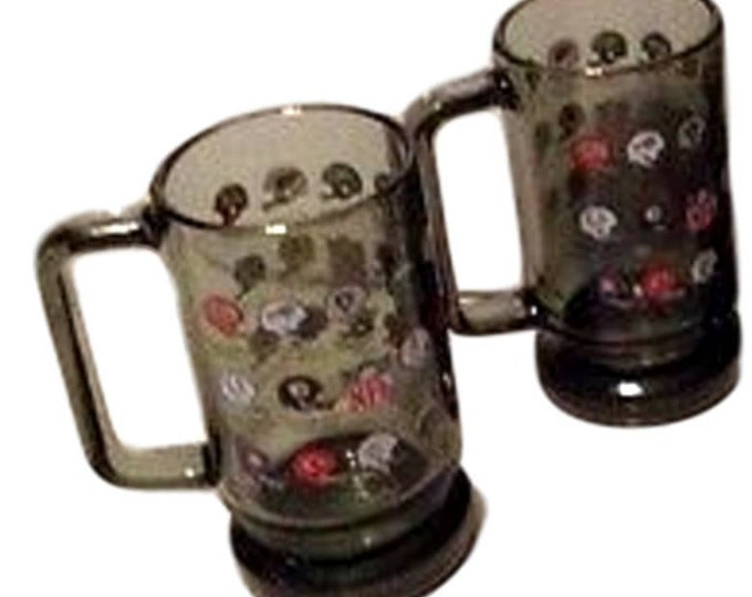 NFL Football Mugs, Football Gifts, Sports Barware Beer Mugs, Vintage Smoked Glass , Man Cave Gifts, Gifts For Men