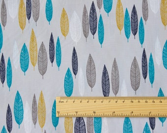 "FISRT LIGHT fabric by Eloise Renouf - Leaf Line-Up in Turquoise - Cloud 9 Fabric - Organic cotton - Half metre (19.5"")"