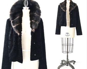 90s Clothing Women VINTAGE Clothing PERSIAN LAMB Coat Persian Lamb Coats for Women Persian Lamb Jacket Curly Lamb Coat Cropped Jacket Black