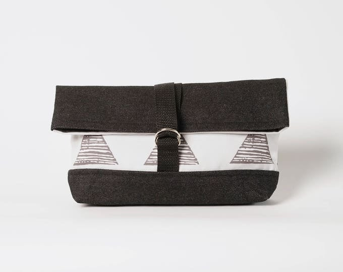 Roll Top Bag  -  Grey Triangle