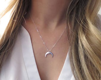 Silver Crescent Moon Necklace, Silver Double Point Necklace, Silver Point Necklace, Silver Double Horn Necklace, Crescent Upside Down Point