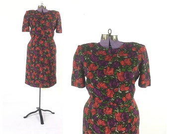 Floral Dress, 1960s Dress, Large Dress, Red Dress, Floral Dress, Vintage Dress, Cotton Dress, Mod Dress, Plus Size Dress, Vintage Clothig