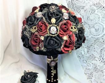 Skull Wedding Bridal Flowers-Gothic-Brides Flowers-Red-Black-Wedding-Flower Bouquet-Renaissance-Wedding Fantasy-Game of Thrones Wedding
