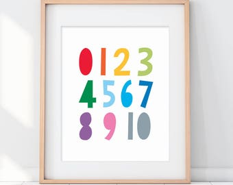 Numbers Nursery Art, 123 Kids Room Art, Counting Wall Art, Rainbow Numbers, Kids Room Rainbow, Kids Rainbow Decor, Toddler Rainbow Sign