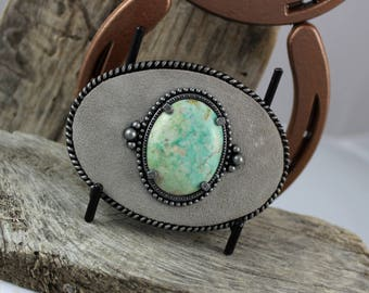Western Belt Buckle -Natural Stone Belt Buckle -Cowboy Belt Buckle - Antique Silver Tone & Suede Finish with Turquoise Stone
