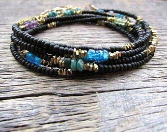 Bead Boho Bracelet, Seed Bead Bracelet, Bead Stack Bracelet, Bead Wrap Bracelet, Layer Bracelet, Multi Gemstone Bracelet, Herkimer Bracelet