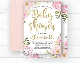 Baby Shower Invitation, Baby Shower Invite, Floral baby Shower Invitation, Blush, rustic floral babyShower invite, boho