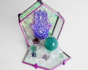Crystal Display // Zen Rock Garden // Glass Galaxy Box // Meditation Spiritual Altar // Metaphysical // Fidget Toy // Fluorite // Amethyst