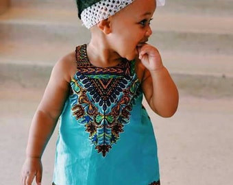 Kids Dashiki Dress Blue