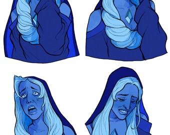 A3 Shining Blue Diamond print