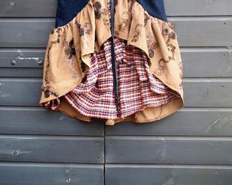 Wrap Skirt, Skirt, Cowgirl Skirt, Denim Skirt Clothing, Boho Skirt, Short Wrap Skirt, Wrap skirts, Double layer Skirt, Feminine Size L