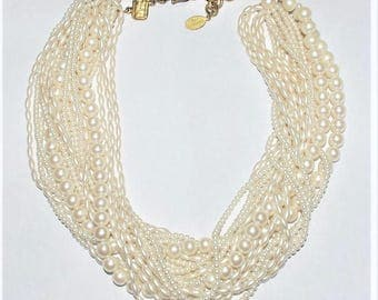 CAROLEE Multi-Strand Faux Pearl Necklace with Extender Chain      - S2121