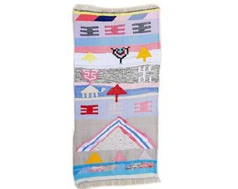 "79""X40"" Handwoven moroccan kilim rug, boucherouite rug, handmade rug, geometric pattern, colorful rug, chic ethnic, moroccan decor"