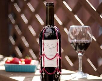 Hot pink wine bottle cover, wine gift, bridesmaid gift, chain booze bottle skirt, wine bottle dress, wine decor, barware, wine bottle cozy