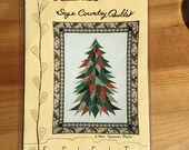 Christmas Tree Wall Hanging Pattern - Fat Quarter Friendly Quilt Pattern - Sage Country Christmas Tree - Christmas Wall Hanging Pattern