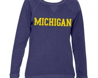 Michigan Wolverines Basic Block French Terry Crewneck - Denim
