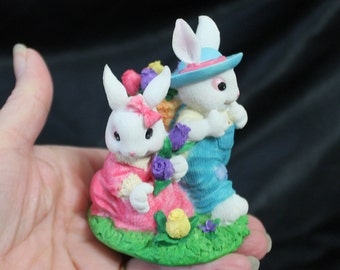 Bunny Rabbits Gathering Flowers Figurine - Easter / Spring Decor