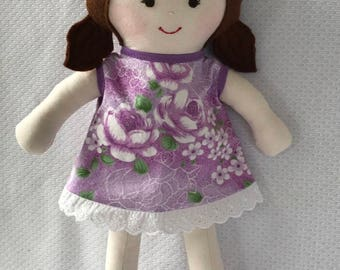 "Handmade cloth doll extra skirt,  fabric doll, rag doll, dressup doll, child friendly soft doll, gift for girl, OOAK doll, 14"","