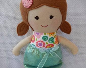 Handmade rag doll, fabric doll, soft doll, cloth doll, child friendly, ragdoll, rag doll, Extra dress,  Mermaid doll