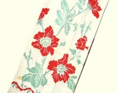 Vintage Kitchen Towel in red and green, Cotton Dish Towel