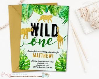 Jungle Wild One Birthday Invitation, Safari Birthday Invitation, Party Animals Birthday Invitation, Boy Birthday Invitation, First Birthday