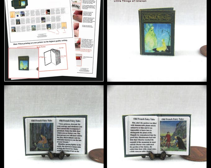 1:12 Miniature Dollhouse Doll OLD FRENCH Fairy Tales Book PDF and Tutorial Printie Dollhouse Scale Miniature Book Accessory Once Upon Time