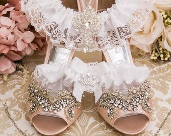 White Wedding Garter, Bridal Garter Set, White Garter Set, White Lace Garter Set, Lace Wedding Garter Set, White Garters
