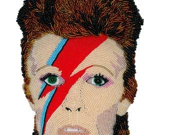 Ziggy Stardust Art Print, Wall Art, Celebrity Art Print, David Bowie Print, Bowie Art, Beadwork Art Print, Ziggy Stardust Art Print, 4x6 Art