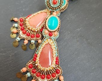 Embroidered earrings, clips, french designer, ethnic chic, coral, jasper, beads embroidery, boho style